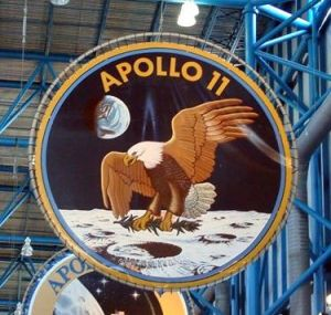 The Apollo 11 Patch hanging at the Kennedy Space Center, Cape Canaveral, FL.
