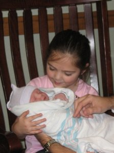 Lana holding Walker right after he was born.